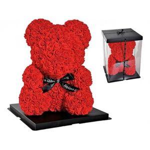 Květinový medvídek z červených růžiček 25x18cm